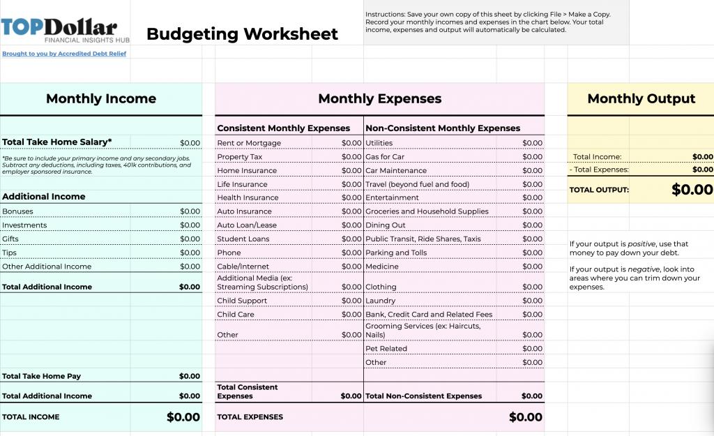 Top Dollar Budgeting Worksheet