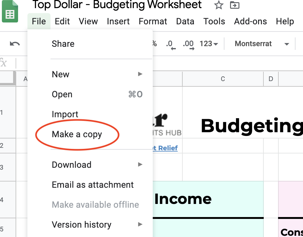 Top Dollar Budgeting Worksheet - How to Save Your Own Copy