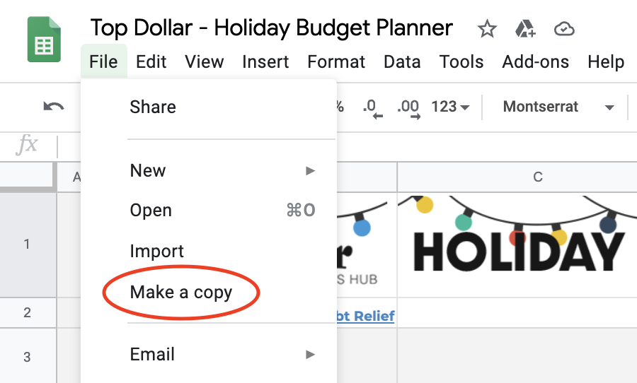 Make a Copy of the Holiday Budget