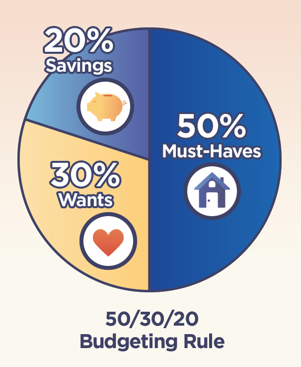 Example of 50/30/20 Rule - Pie Chart